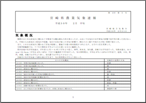 宮崎県農業気象速報平成30年2月中旬PDF