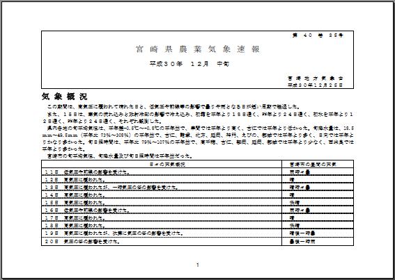 宮崎県農業気象速報平成30年12月中旬PDF