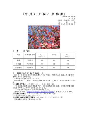 今月の天候と農作業2019年4月版