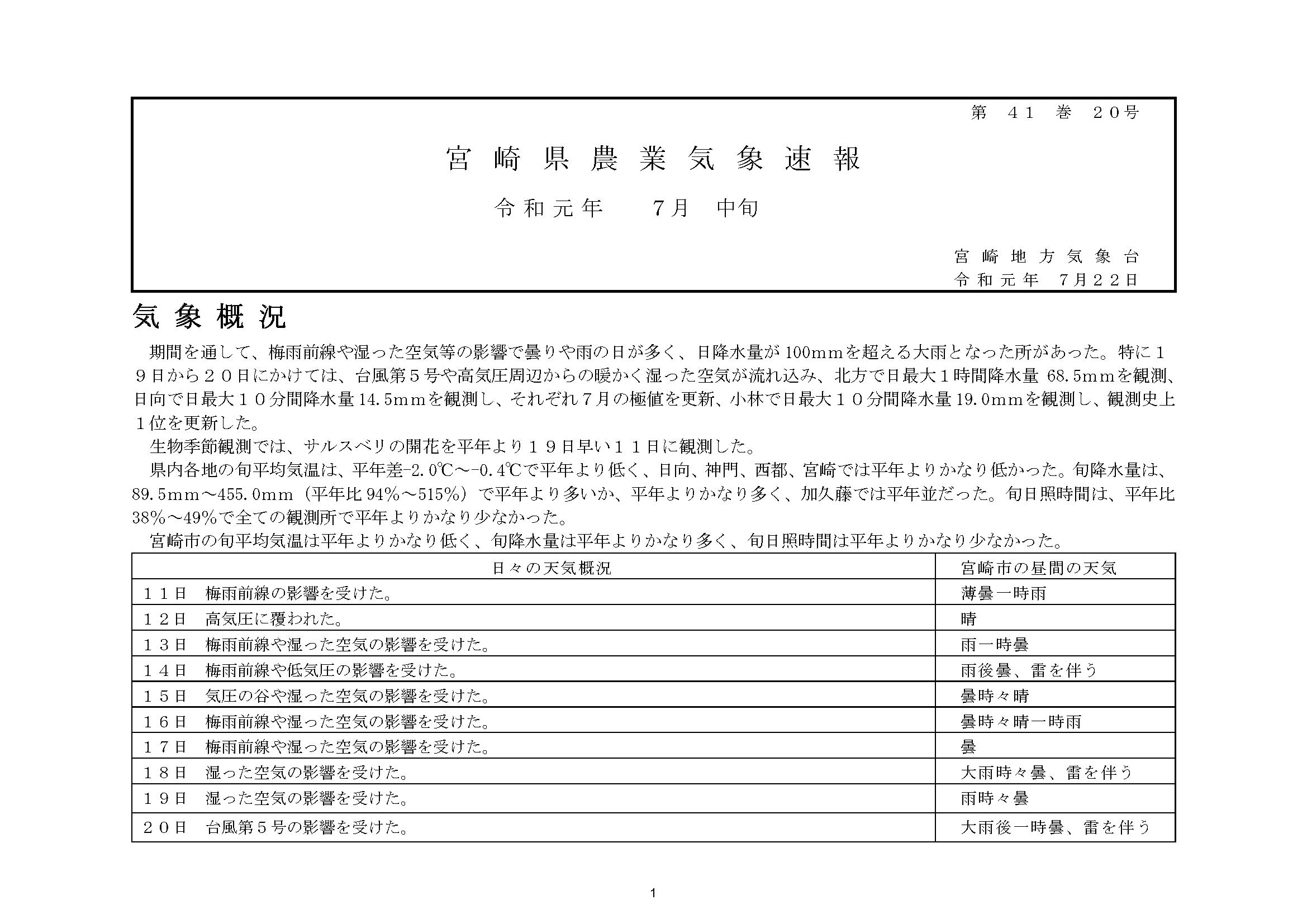 宮崎県農業気象速報令和元年7月中旬PDF