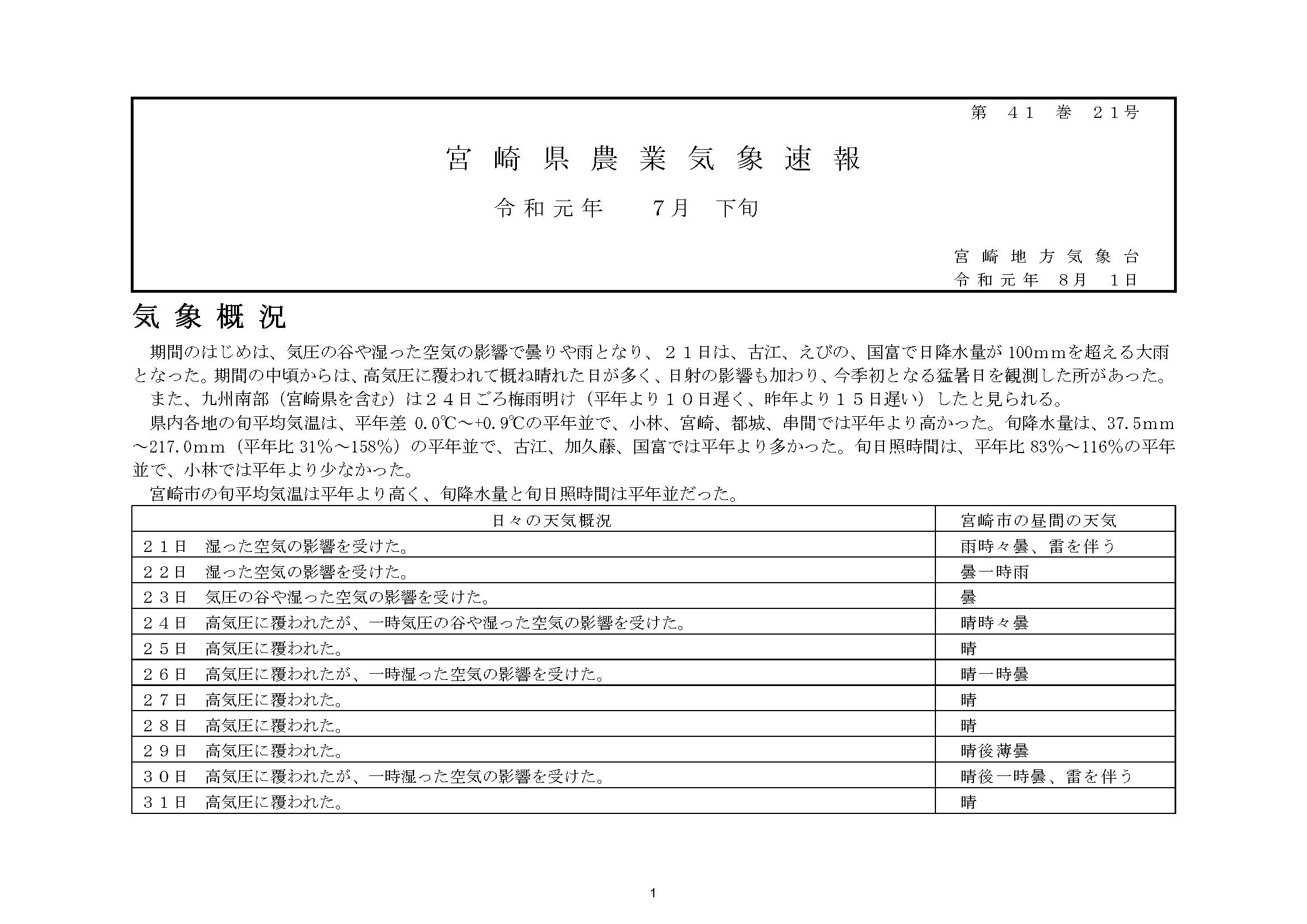 宮崎県農業気象速報令和元年7月下旬PDF