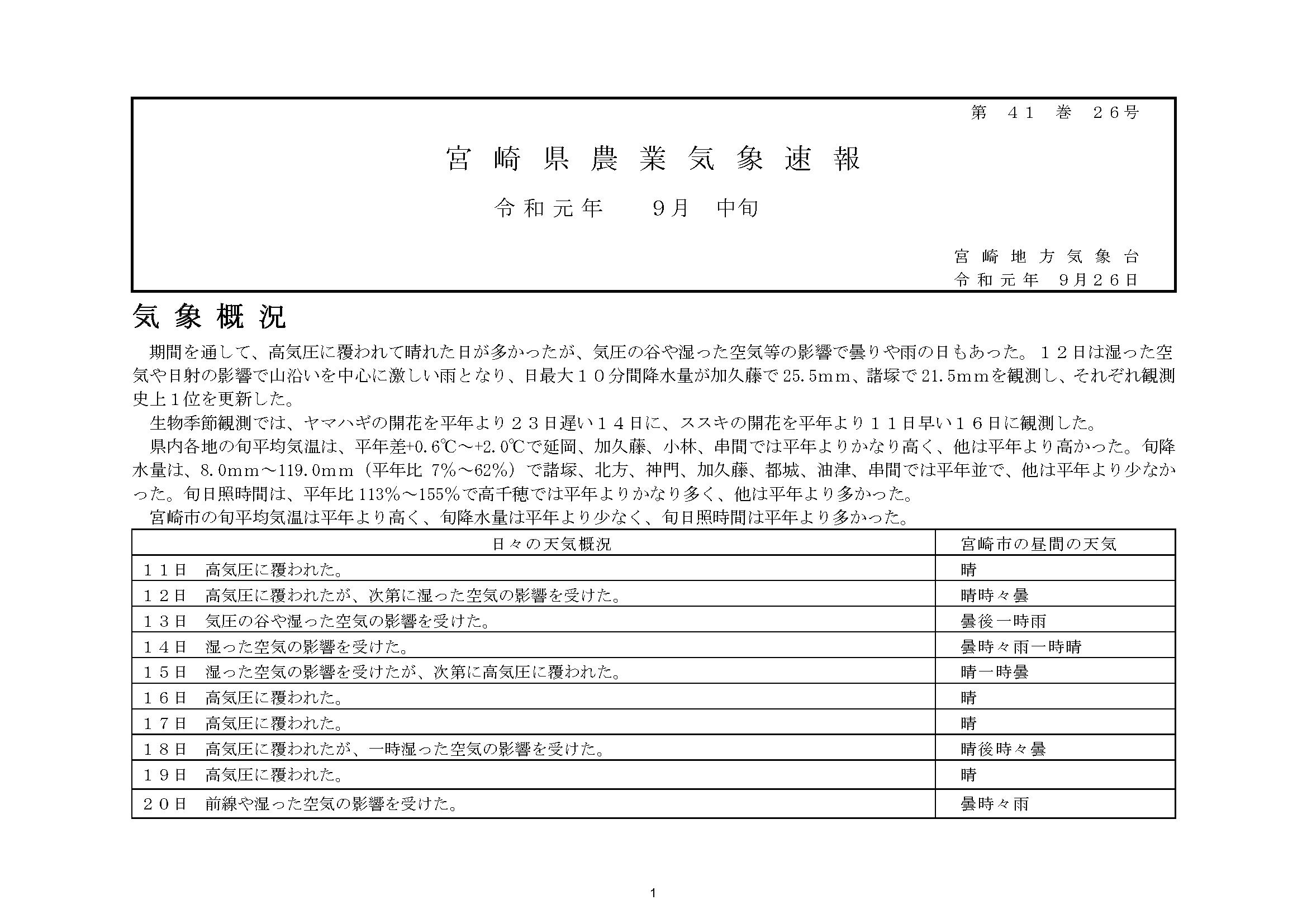宮崎県農業気象速報令和元年9月中旬PDF