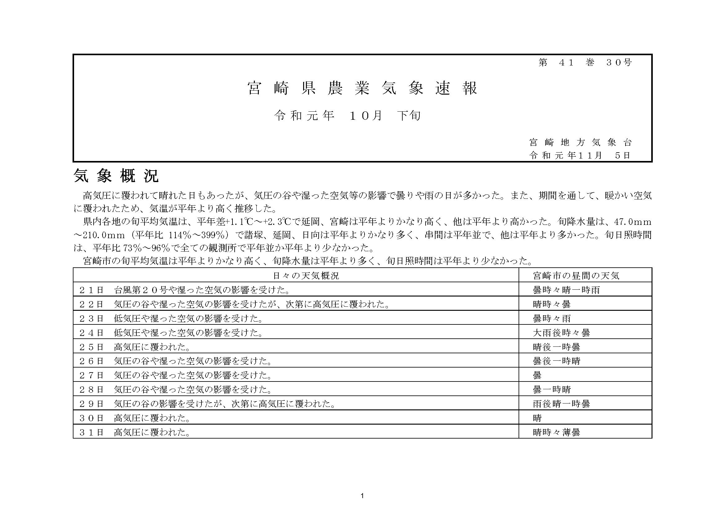 宮崎県農業気象速報令和元年10月下旬PDF