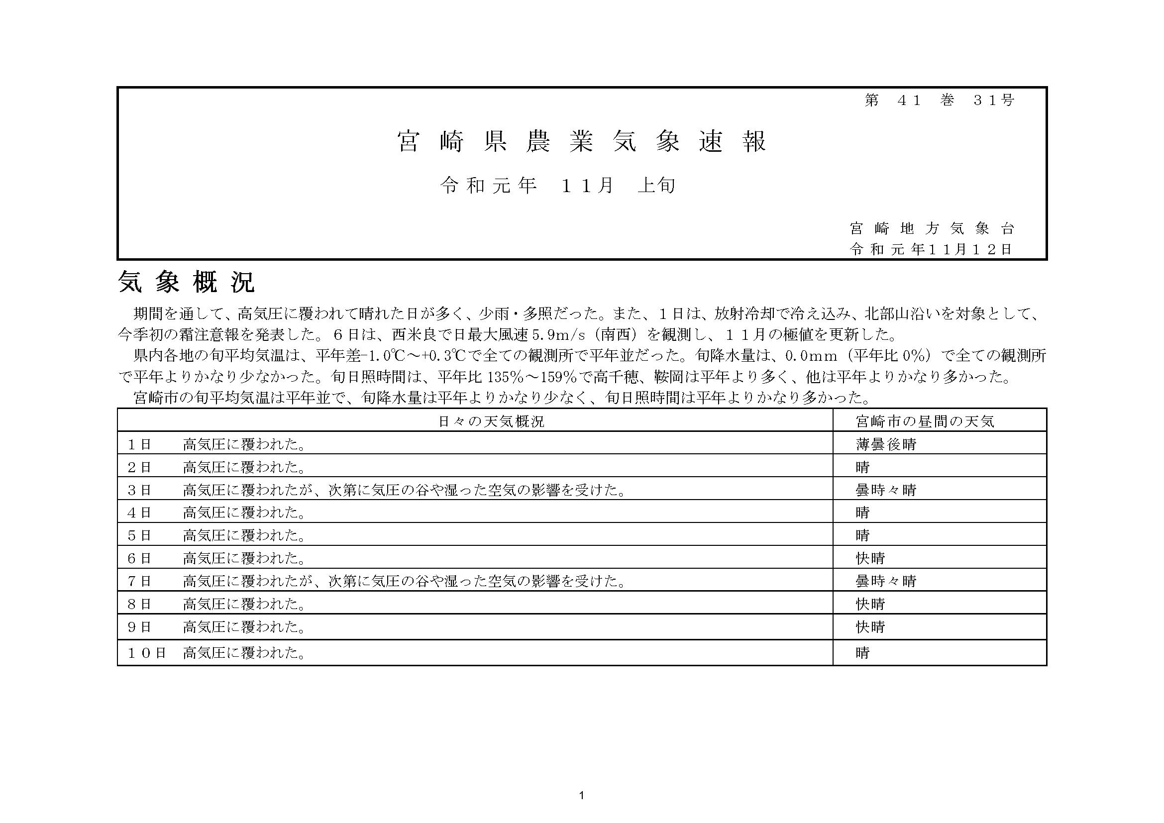 宮崎県農業気象速報令和元年10月上旬PDF