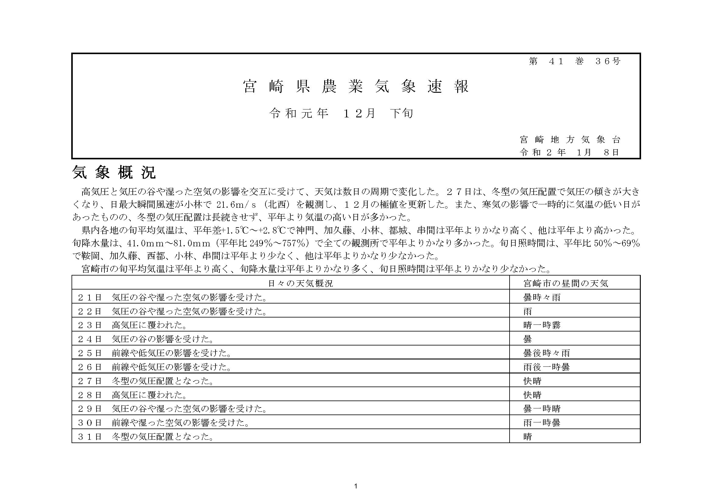 宮崎県農業気象速報令和元年12月下旬PDF