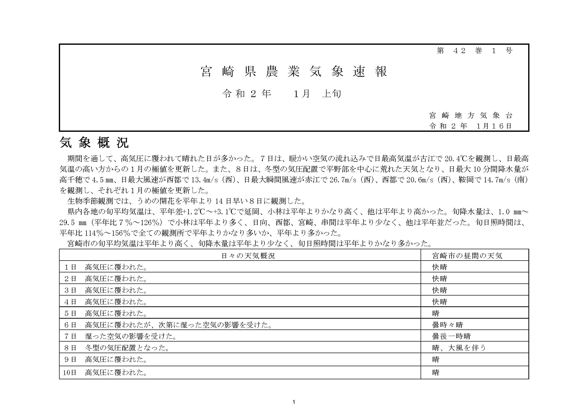 宮崎県農業気象速報令和2年1月上旬PDF