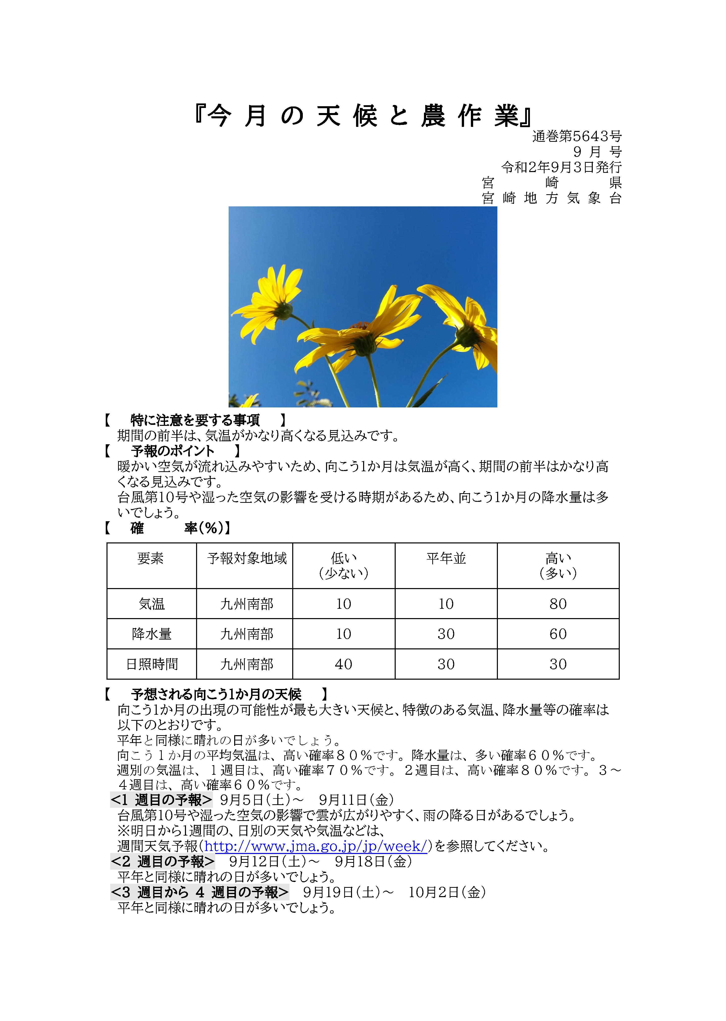 今月の天候と農作業2020年9月版