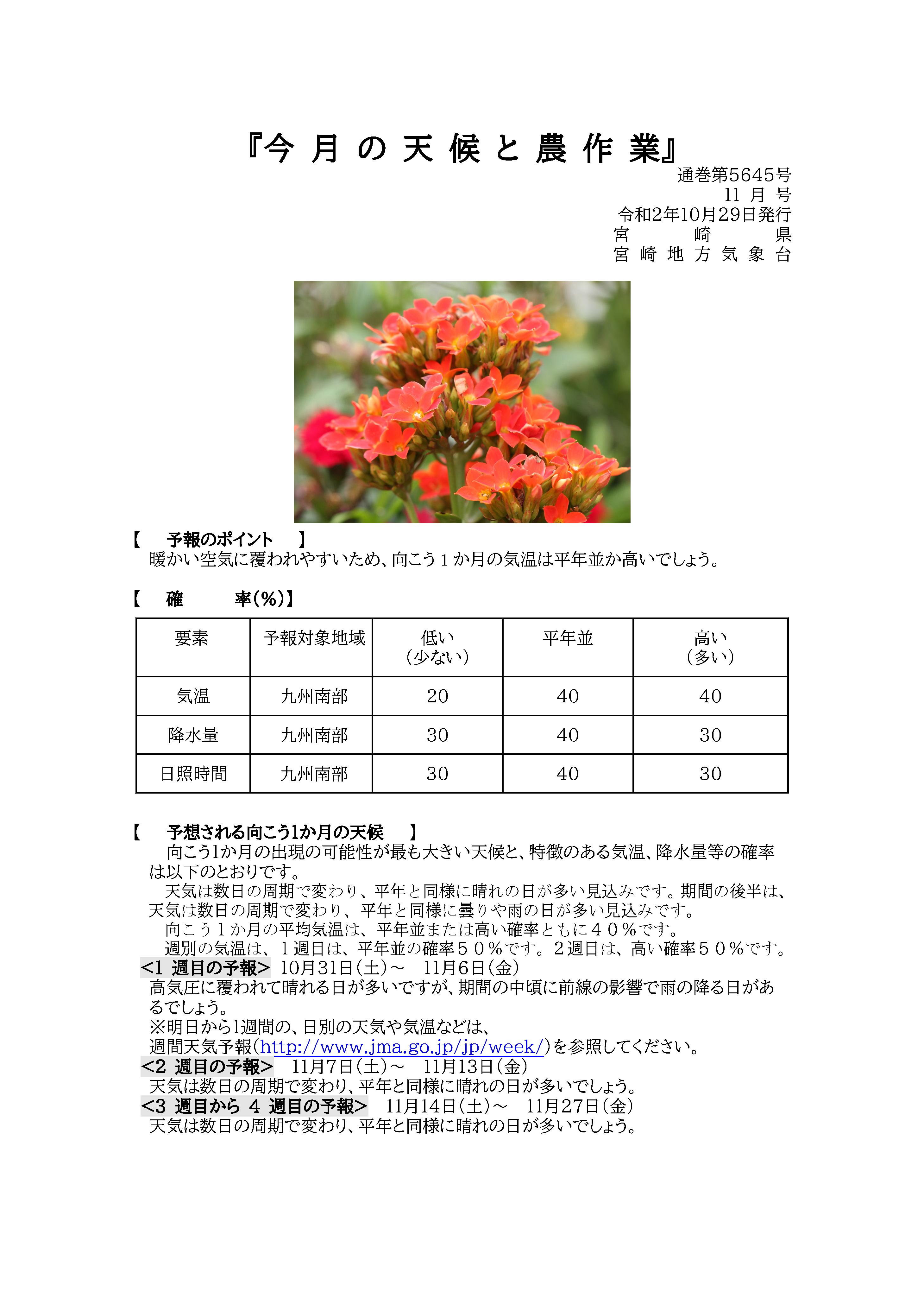 今月の天候と農作業2020年10月版