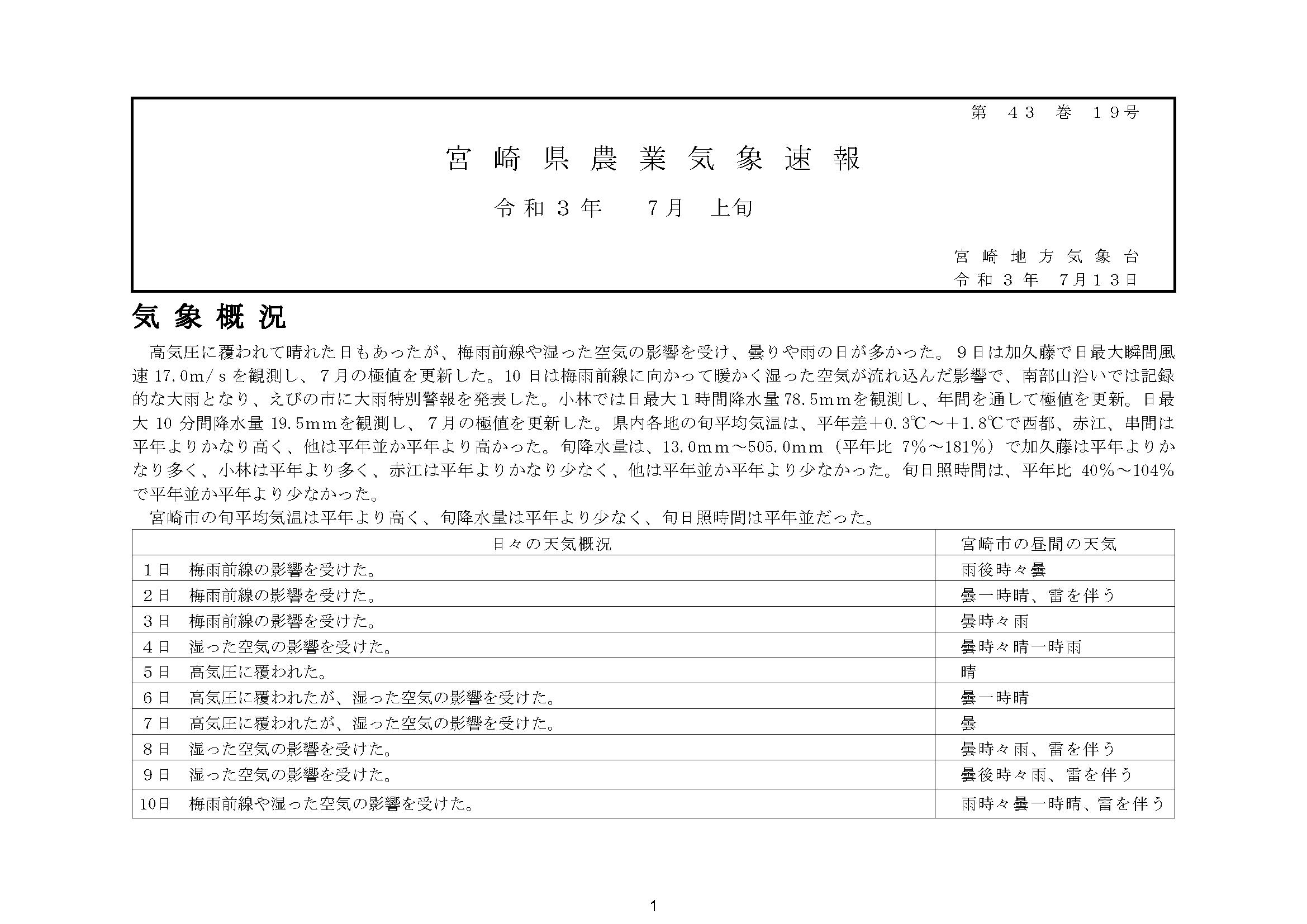 宮崎県農業気象速報令和3年7月上旬PDF
